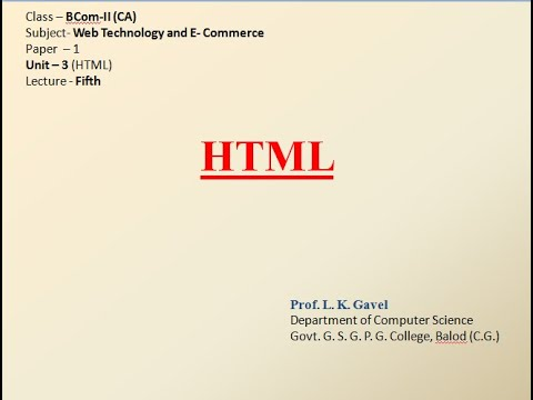 HTML Lecture 5 For BCom-II (CA)