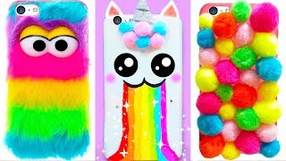 6 DIY RAINBOW PHONE CASES | Easy & Cute Phone Projects & iPhone Hacks 🌈🌈🌈