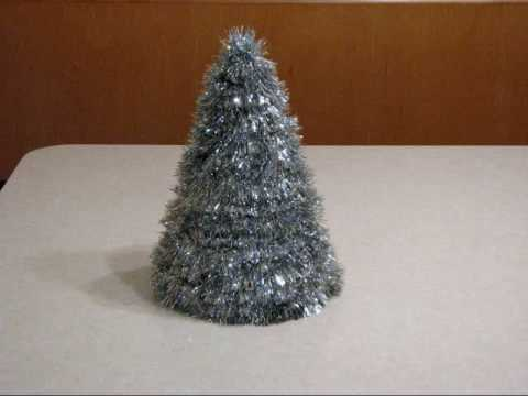 homemade table top silver tinsel christmas tree - Silver Tinsel Christmas Tree
