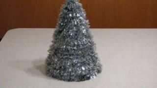 Homemade Table Top Silver Tinsel Christmas Tree