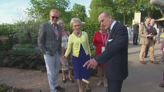 Prince Philip jokes with Mary Berry at Chelsea Flower Show