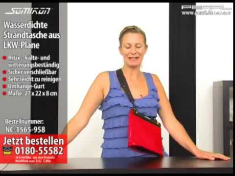 somikon wasserdichte strandtasche aus lkw plane f r ipad youtube. Black Bedroom Furniture Sets. Home Design Ideas