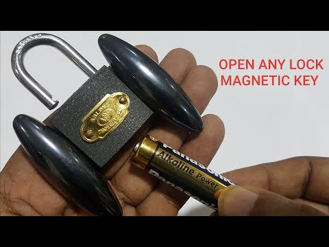 HOW TO OPEN ANY PAD LOCK MAGNETIC KEY EASY TRICK