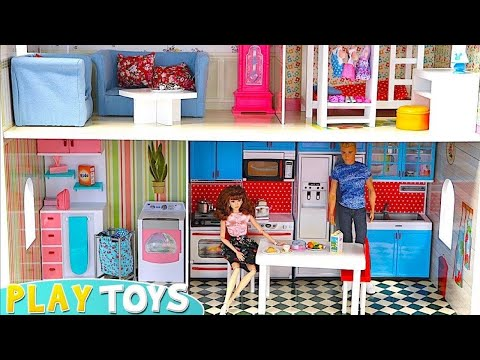 Barbie Huge Doll House! Play Baby Dolls House Furniture! Barbie Bedroom, Bathroom, Kitchen Toys