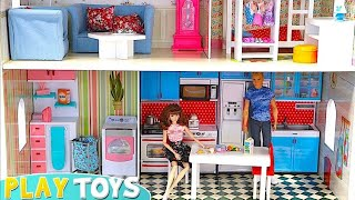 Barbie Huge Doll House! Play Baby Dolls House Furniture!