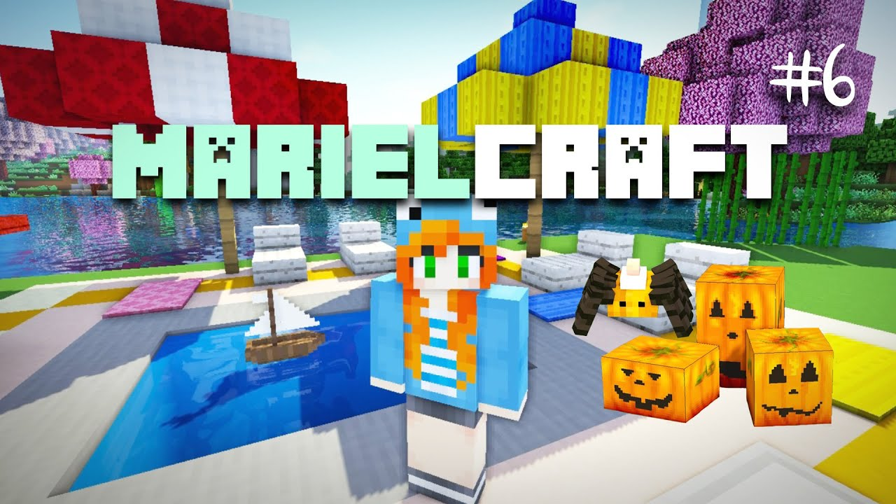 marielcraft ep06 halloween decorations dog park and outdoor pool youtube