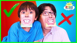Ryan plays Who's Nose Guess Your Face Board Game for kids! thumbnail
