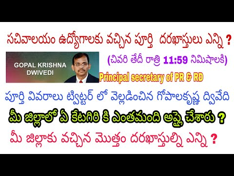 Ap Grama sachivalayam jobs total applications list district and category wise at 11:59PM by dwivedi