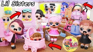 LOL Surprise Dolls + Lil Sisters at Store and Toy Hospital Baby Strollers
