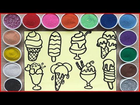 TÔ MÀU TRANH CÁT CÂY KEM NGON - Colored Sand Painting Ice Cream(Chim Xinh)