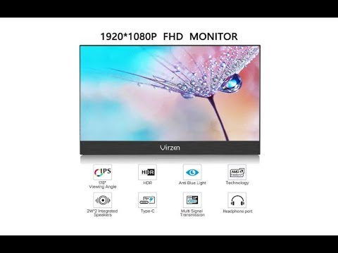 Virzen Portable Monitor 15.6 Inch Portable Display 1920x1080 Aluminum Alloy Portable Gaming