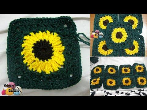 Sunflower Granny Square REVISED - Crochet Tutorial - YouTube