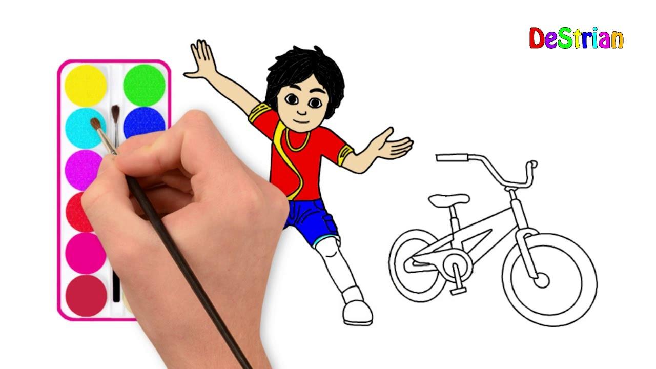 Cara Menggambar Dan Mewarnai Shiva Dan Sepeda Destrian Youtube