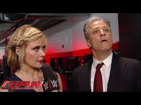 Jon Stewart reacts to his confrontation with Seth Rollins: Raw, March 2, 2015