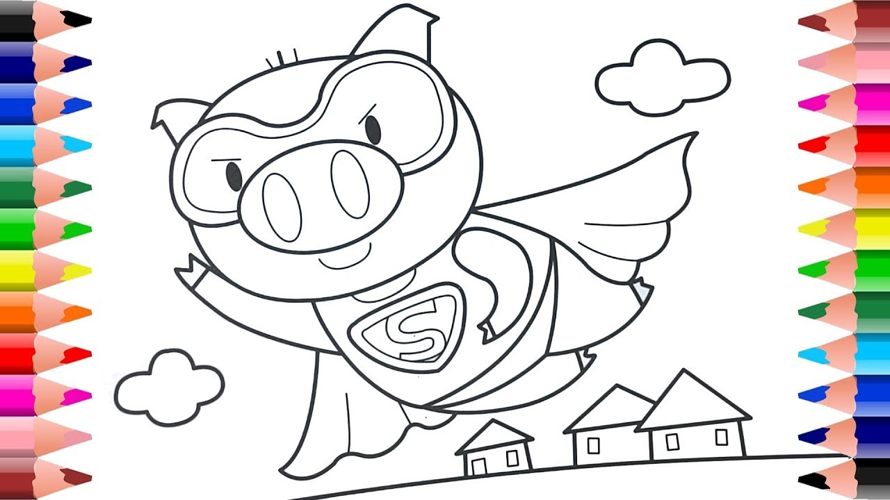 Cute pig drawing and coloring | animal coloring pages | Coloring for ...