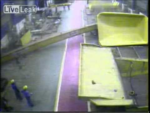 Steel Factory Crane Collapse Caught on CCTV