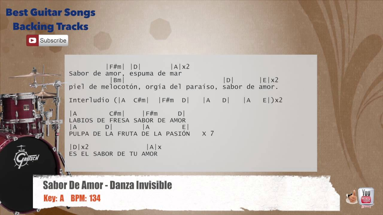 Sabor de amor danza invisible drums backing track with chords and lyrics
