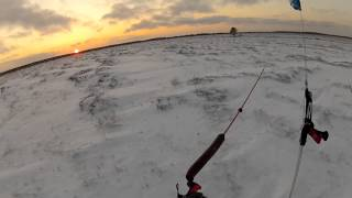 Snowkiting - On a frozen marsh