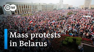 Tens of thousands protestors in belarus have taken to the streets minsk and other cities for a second sunday row demand president alexander luk...