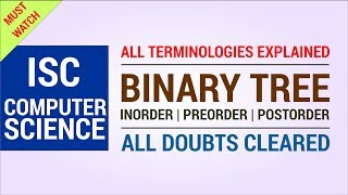 Binary Tree Explained - Inorder Postorder Preorder - Easy Method - ISC Computer Science Theory)