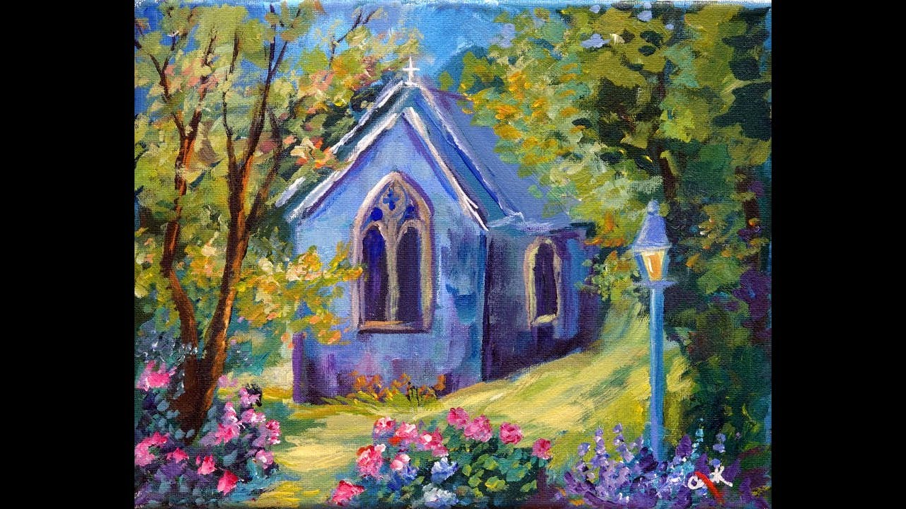 Summer Chapel A Landscape In Acrylics With Ginger Cook