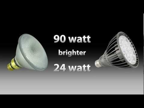 LED Par 38 24watt Vs Halogen Par 38 90watt Shocking Comparison By Total Lighting Supply