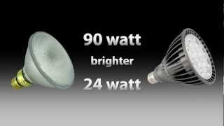 LED Par 38 24watt vs Halogen Par 38 90watt shocking comparison by Total Lighting Supply