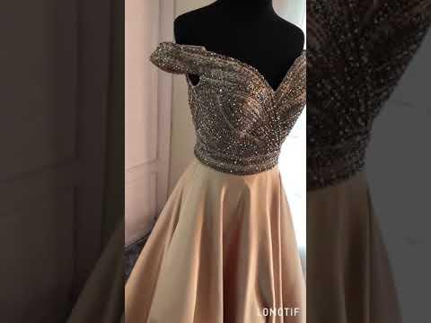 A Linie Abendkleid Ballkleid Carmen Ausschnitt Lang Beige Satin