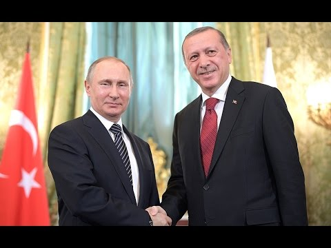 Vladimir Putin and President of Turkey Recep Erdogan in Moscow.