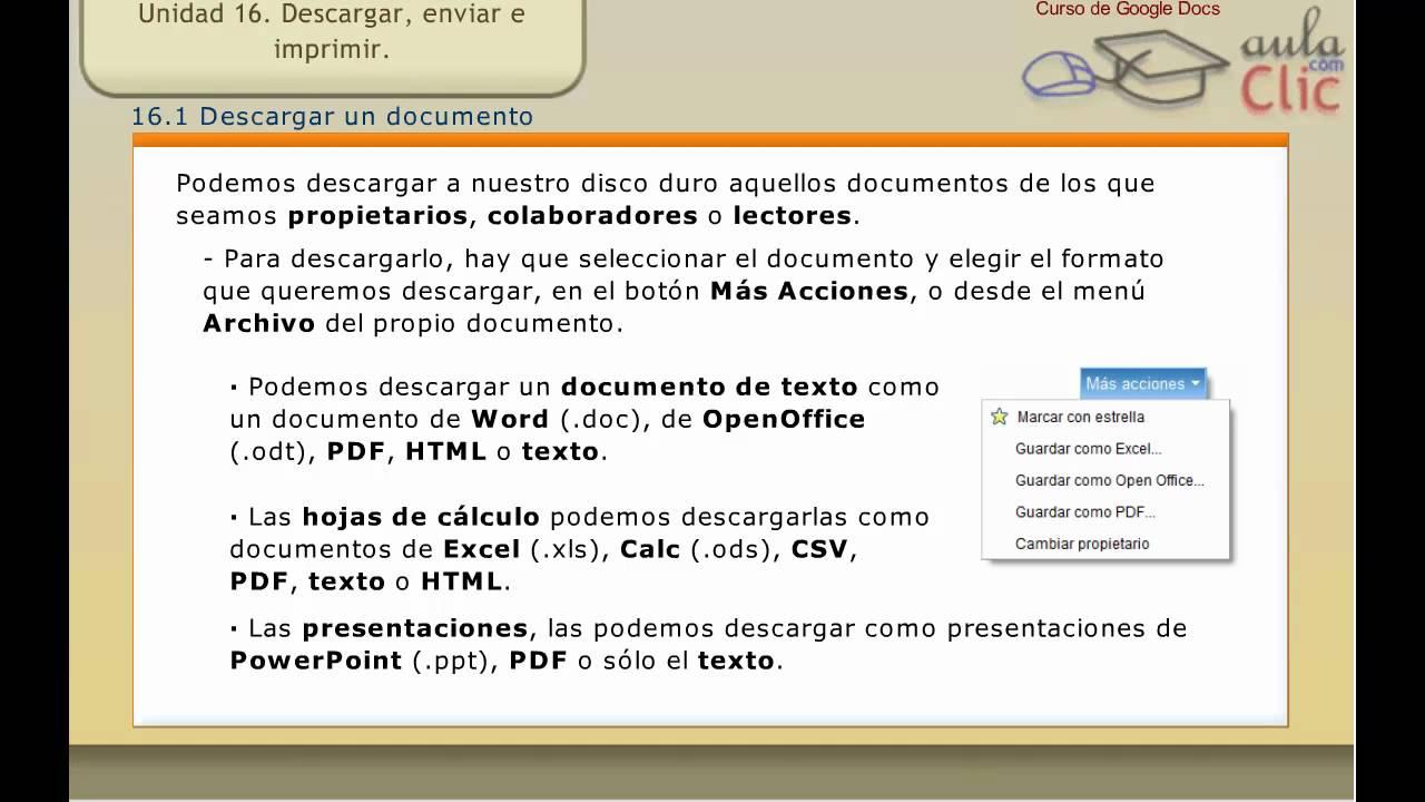 curso de google docs t 16 descargar enviar por correo e imprimir