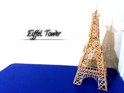 How to make an Eiffel Tower with wooden sticks | DIY | Handmade Eiffel tower craft.