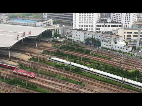 Trains In And Out Of Shanghai Railway Station