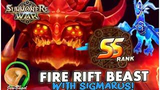 SUMMONERS WAR : SS Rank Fire Rift Beast w/Sigmarus the water chicken (phoenix)