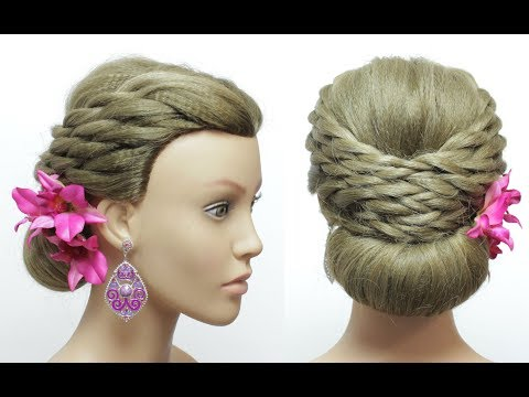 Low Bun Updo With Twists Wedding Hair Tutorial