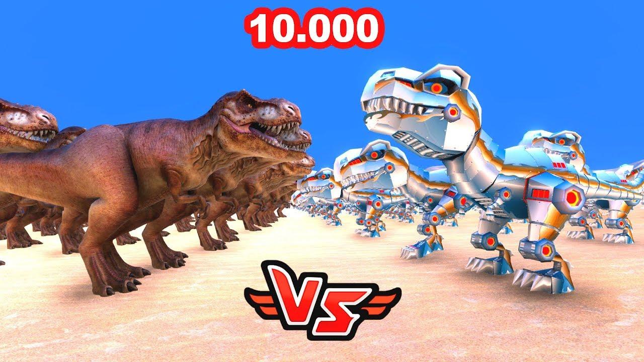 10.000 ROBOT DİNOZOR VS 10.000 T-REX 😱 - Süper Kahramanlar