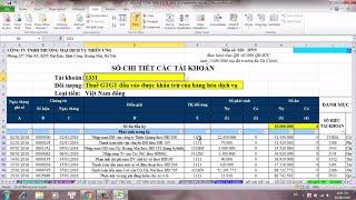 Cách lập sổ chi tiết tài khoản kế toán trên Excel