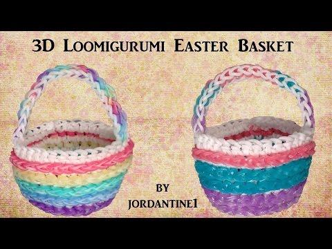 3D Easter Basket Loomigurumi Amigurumi Rainbow Loom Band Crochet Hook Only Лумигуруми