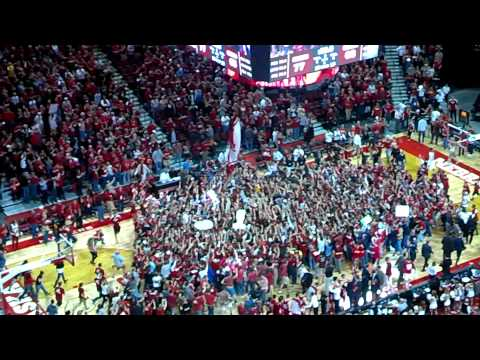 Nebraska vs Wisconsin Basketball Court Storming 3-9-14