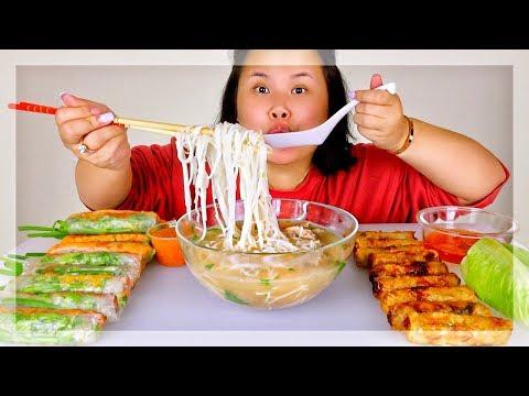 PHO + SPRING ROLLS + EGG ROLLS MUKBANG 먹방 (EATING SHOW!)