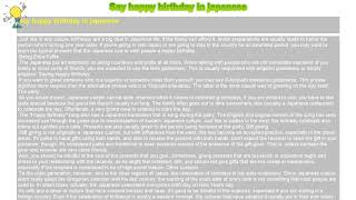 How to : Say happy birthday in japanese