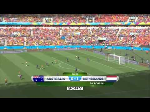 Australia - Netherlands Robben's Goal And Cahill's AMAZING VOLLEY GOAL