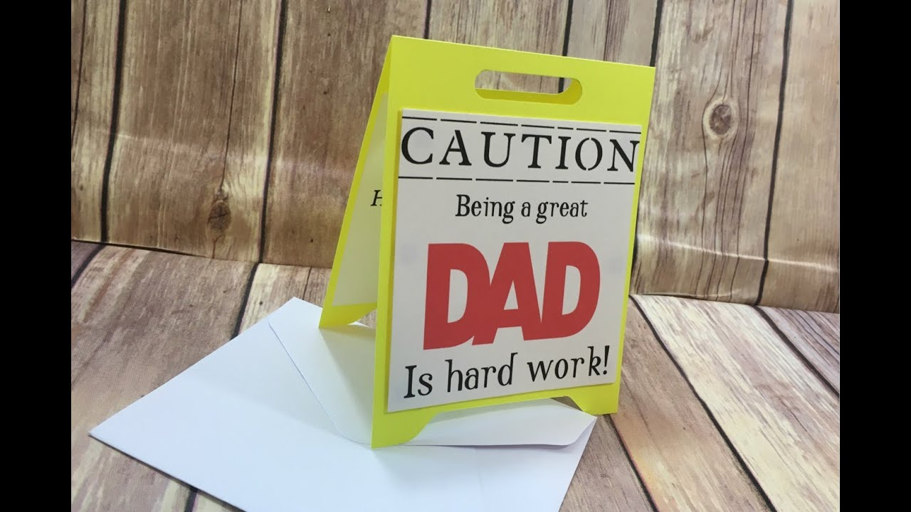 Cricut Card Making Ideas Youtube Part - 23: Guy Card Collab Caution Dad Card Tutorial And Free Cricut File