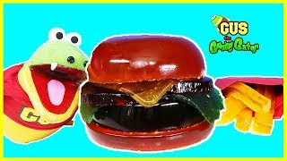 DIY GIANT GUMMY McDONALDS BURGER AND FRIES with Gus the Gummy Gator