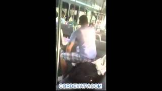 White Kkkracka male antagonizes Brutha  man on the bus