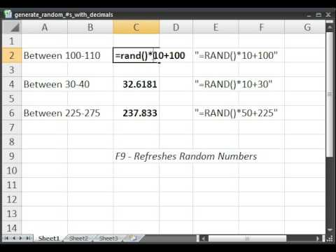Generate Random Numbers with Decimals in Microsoft Excel - YouTube