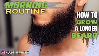 How To Grow A Loฑger Beard: Morning Routine for Men with Curly Hair