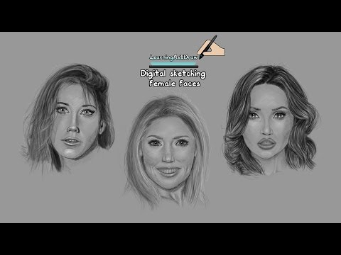 Digital sketching female faces / portraits time lapse How To Draw Tutorial thumbnail
