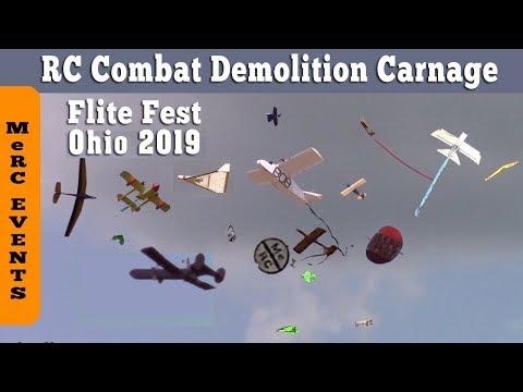 Flight Fest Ohio 2019 - RC Demolition Crash of MeRC Nutball in RC Combat (filmed 60 fps).