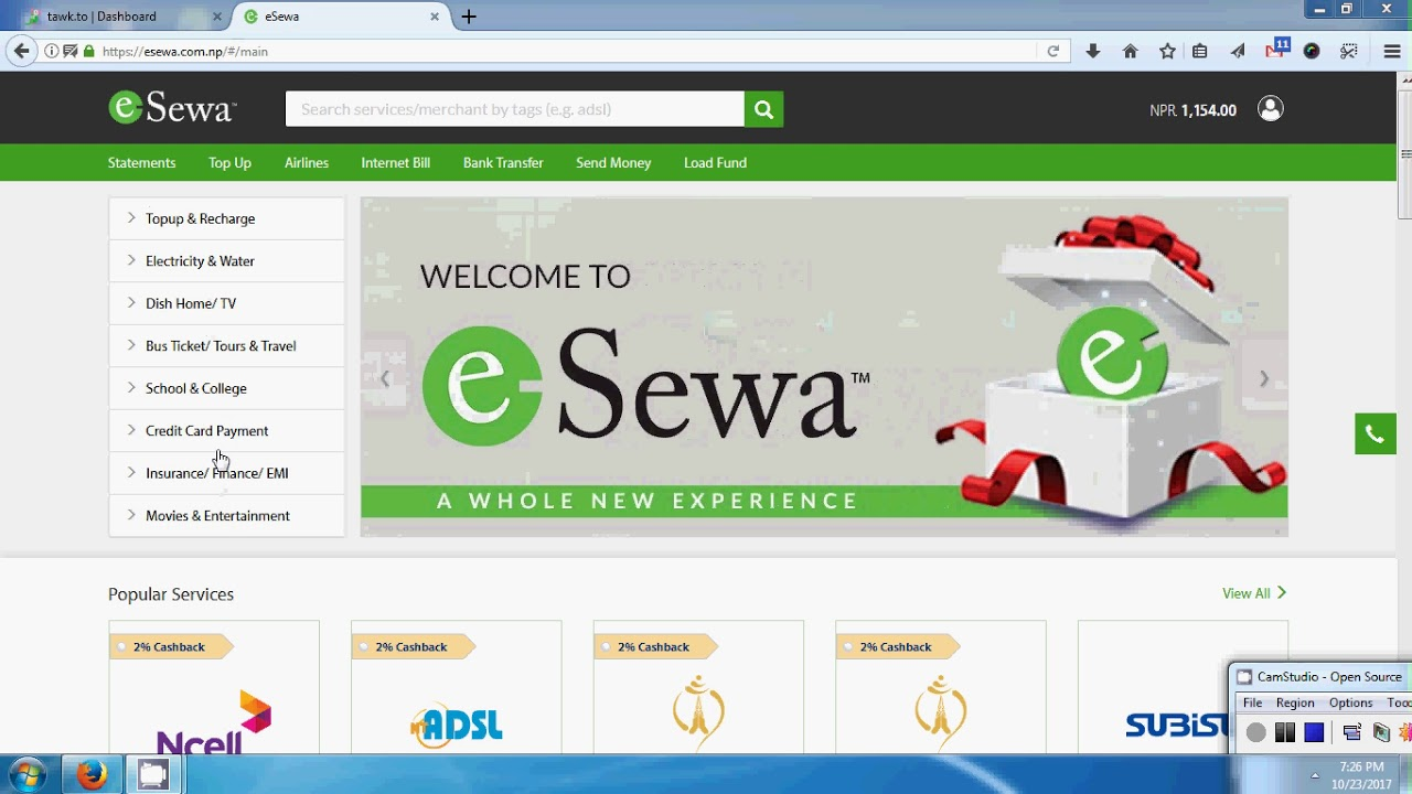 internet bill payment from esewa