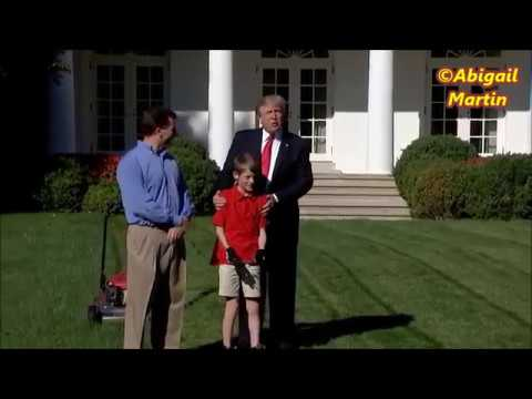 11 Years Old Boy Mow WhiteHouse Lawn In front Of Donald Trump